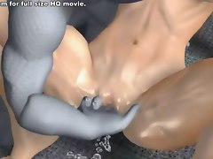 Two aliens fuck babe in hot 3D hentai