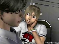 Horny library girls seduce a customer