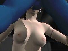 Blue alien fucks girl's mouth and nub