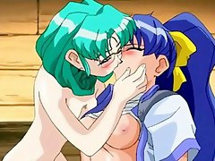 Saucy lesbian licks friend in the anime - hentainiches.com