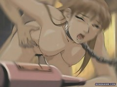 Chained hentai girl with big tits gets intoxicated and fucked by gang