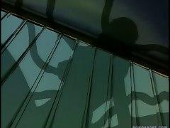 Terrified little anime slut gets fat tentacles deep in her throat