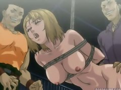 Scared anime girl tied up and fucked in a garage