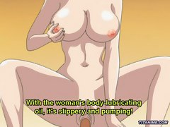 Huge boobed anime milf pussy rides big stiff cock