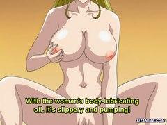 Huge boobed anime milf pussy rides big stiff cock