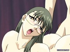 Busty hentai girl rides dick in bedroom