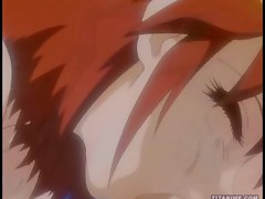 Anime babe grinds a hard cock between her enormous tits