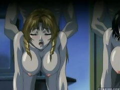 Several anime babes with soft big tits screwed hard