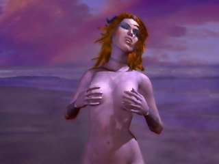 Redhead purple magic lady giving sex fantasy to a guy