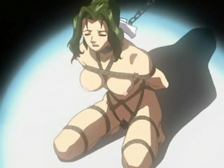 Obedient anime slave in chains sucks her masters dick